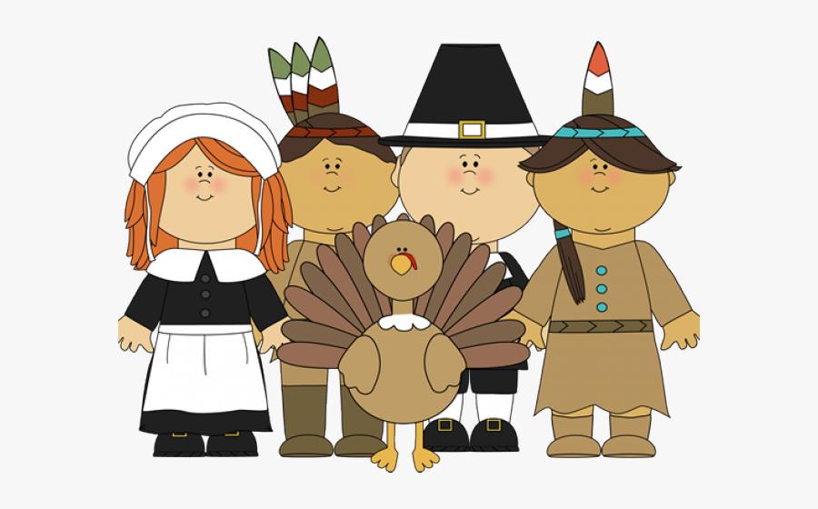 Cartoon Pilgrims And Indians , Free Transparent Clipart.