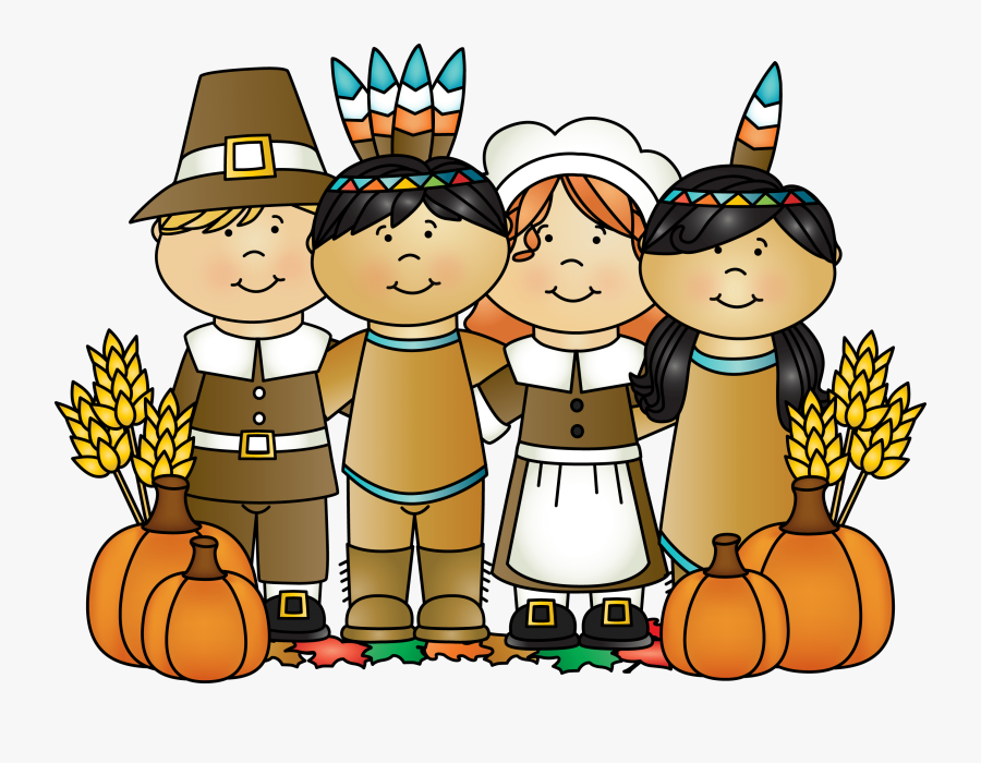 Thanksgiving Pilgrims And Indian , Free Transparent Clipart.