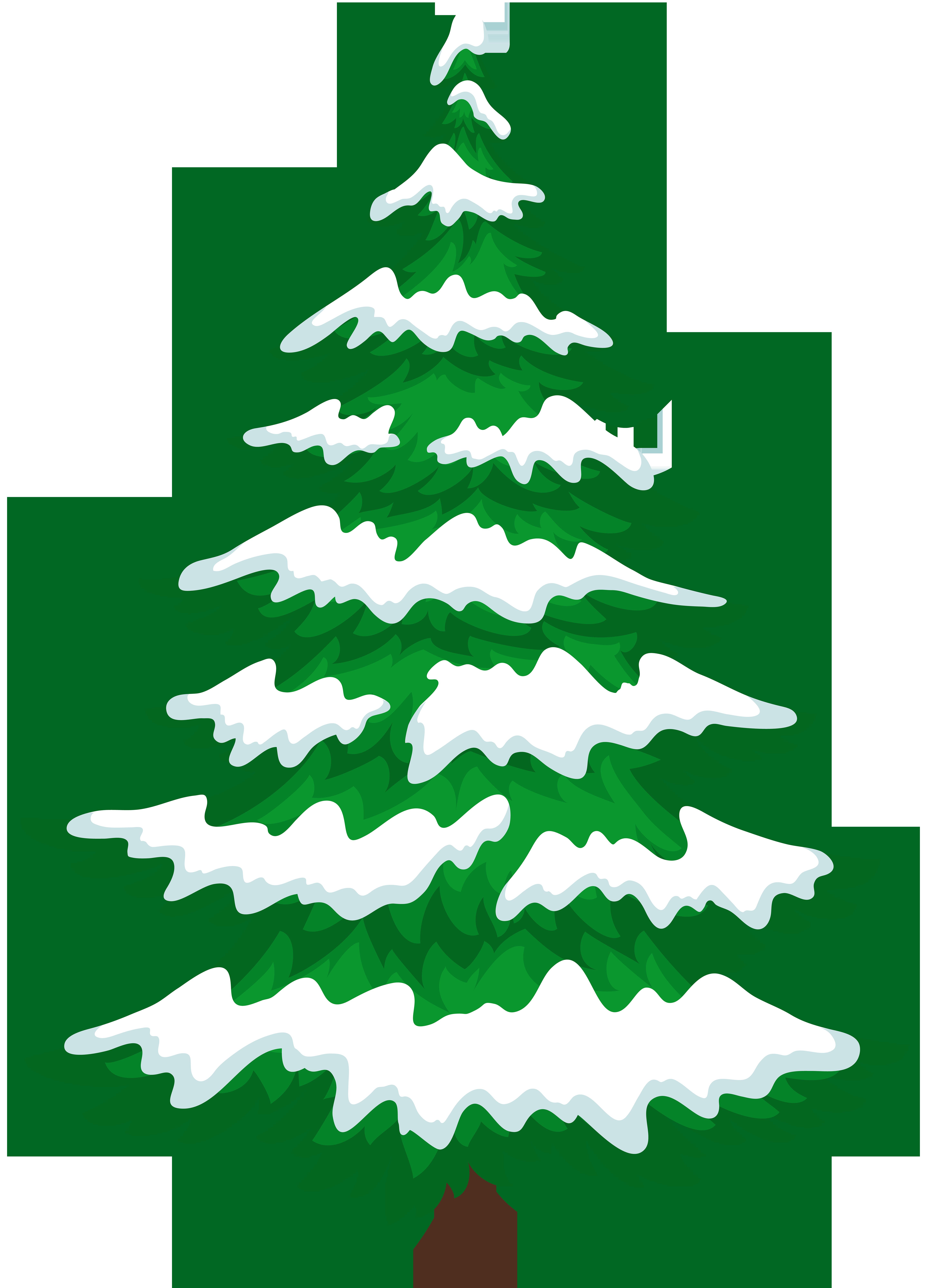 Pine Tree with Snow Transparent Clip Art.