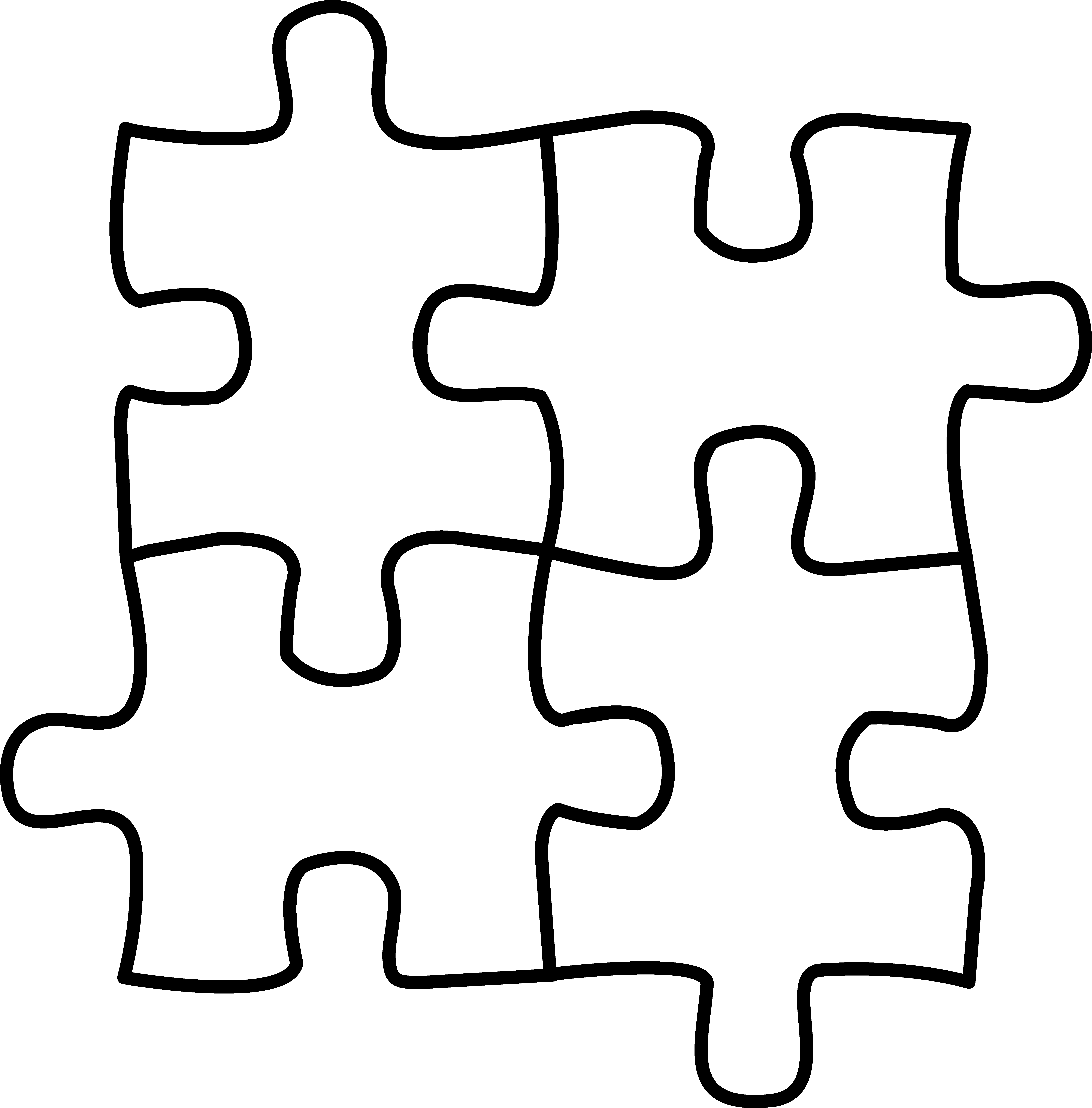 Four Puzzle Pieces For Coloring.