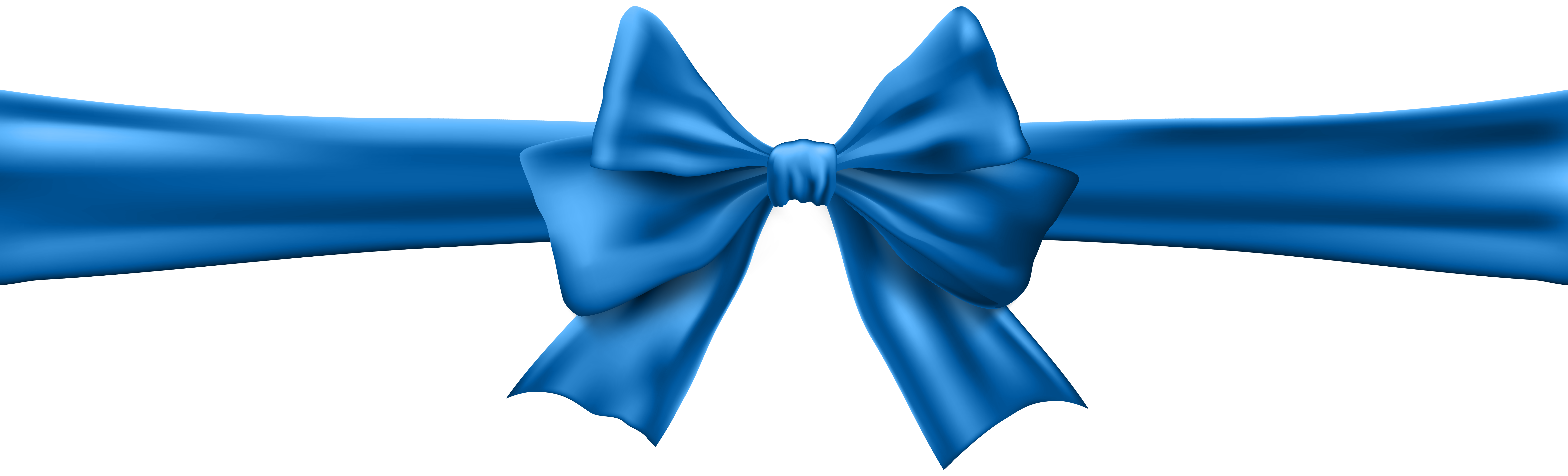 Blue Bow with Ribbon Clip Art Image.
