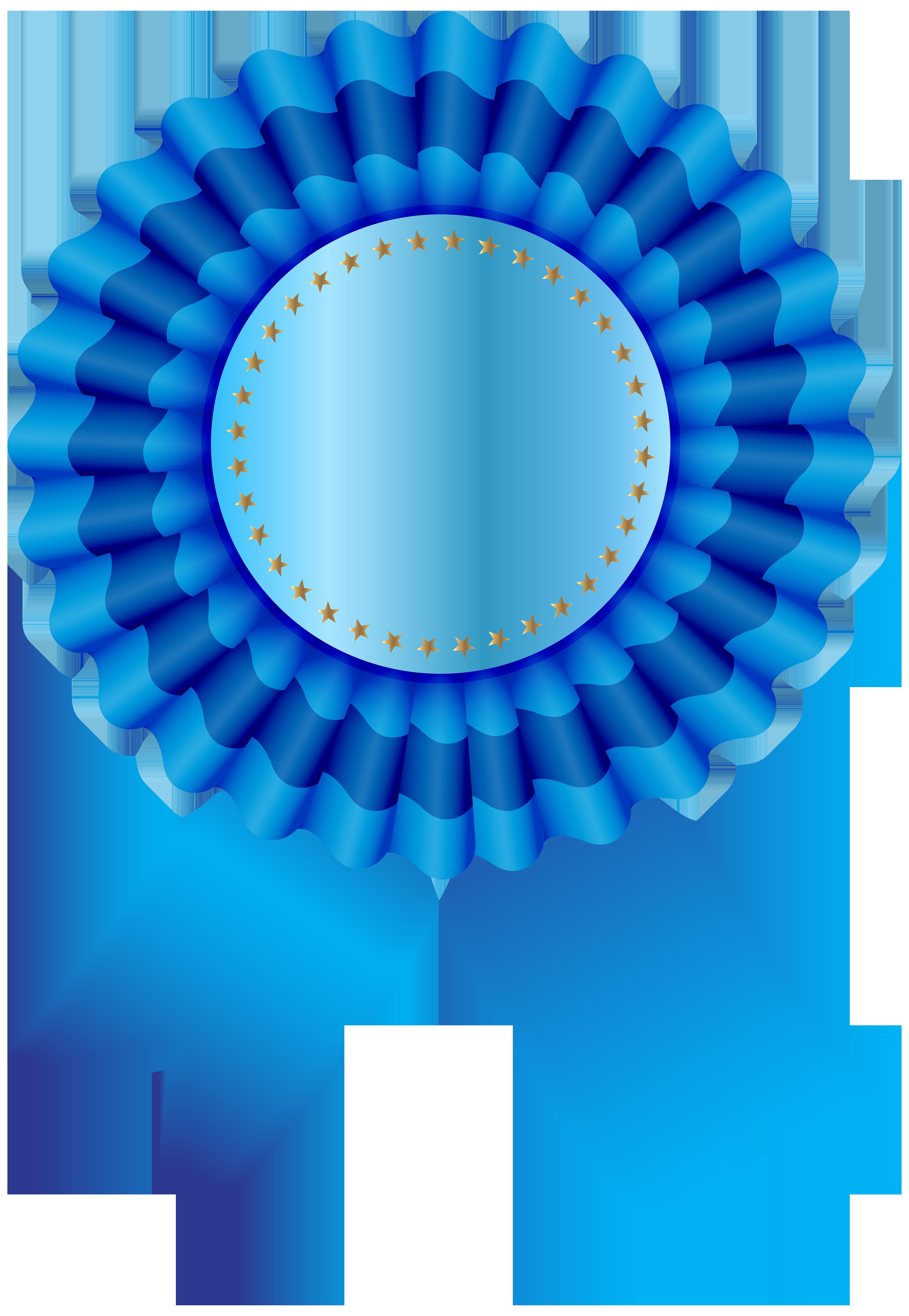 Blue Seal Ribbon Free PNG Clip Art Image.