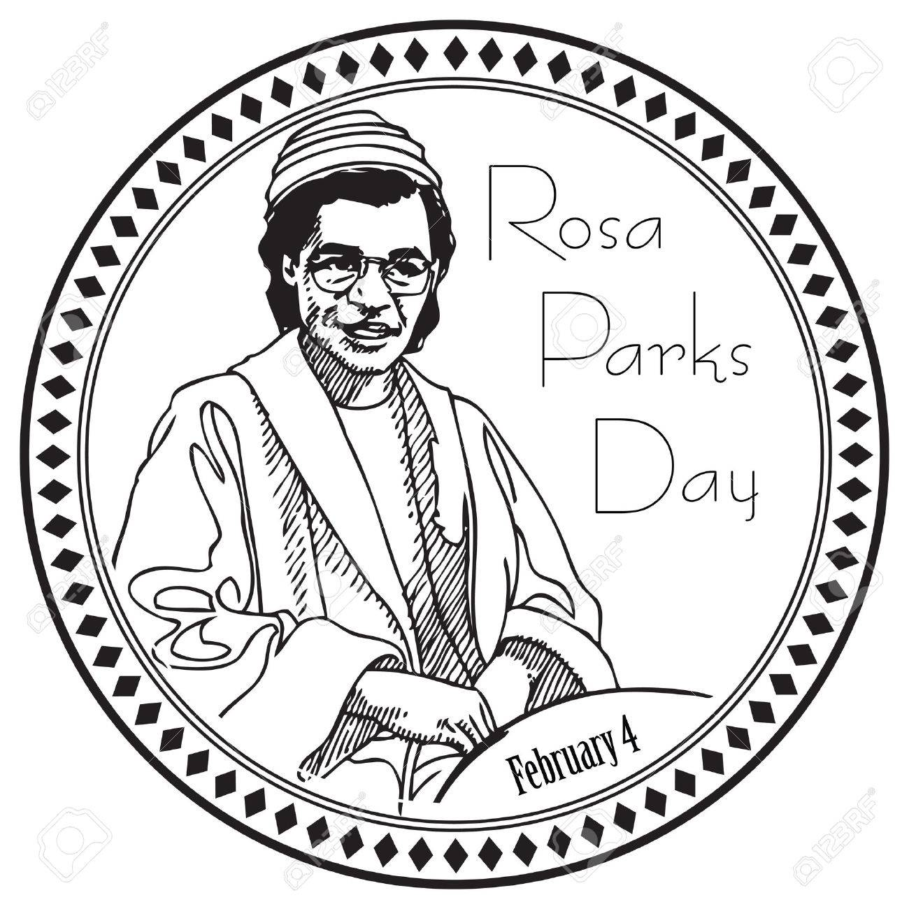 Stamp imprint for the holiday Rosa Parks Day. The event is marked...
