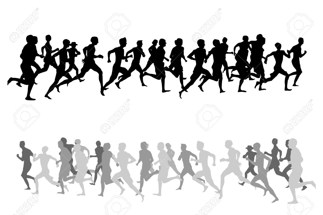 vector illustration of running people.