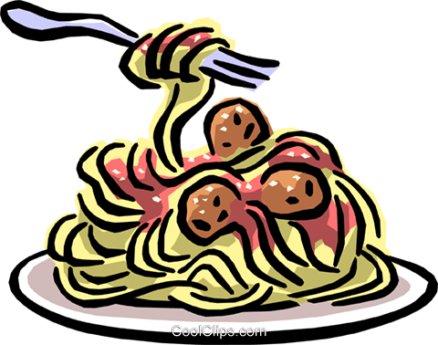 Spaghetti & meatballs Royalty Free Vector Clip Art illustration.