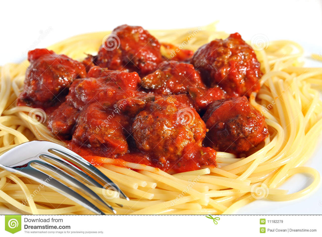 Spaghetti and meatballs stock image. Image of home, food.