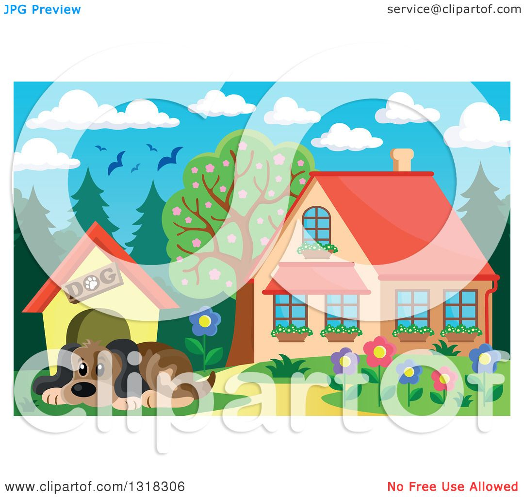 Clipart of a Cartoon Dog Resting by His House on a Sunny Day, with.