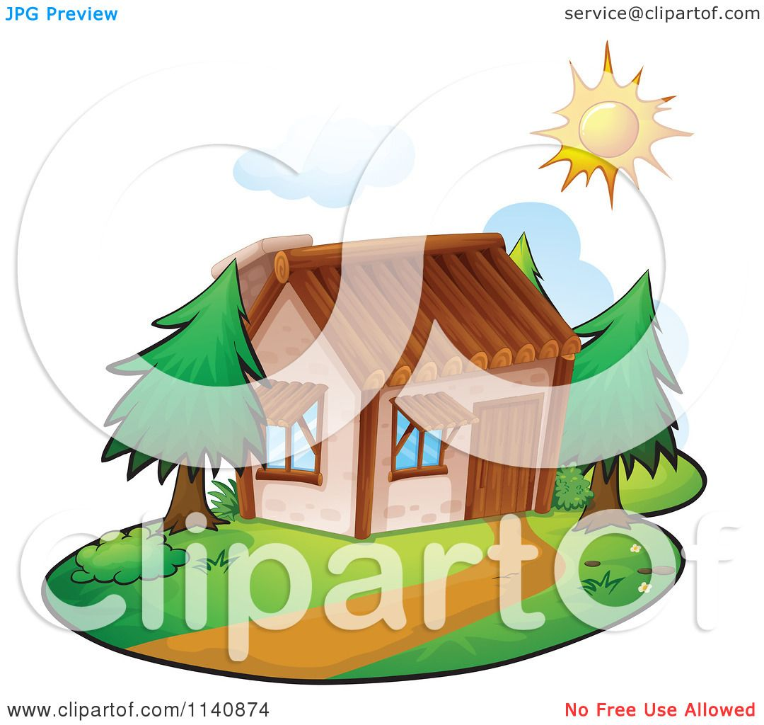 Cartoon Of A Residential Home On A Sunny Day 8.