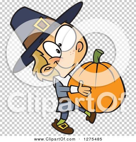 Cartoon Clipart of a Happy Caucasian Pilgrim Boy Carrying a Big.