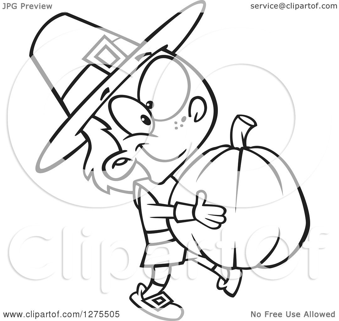 Cartoon Clipart of a Black and White Happy Pilgrim Boy Carrying a.