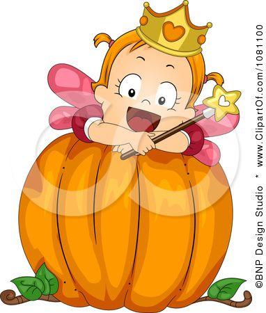 Clipart Toddler Fairy Halloween Girl On A Big Pumpkin.