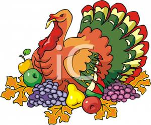 Cartoon of a Thanksgiving Turkey Surrounded By Fruit and.