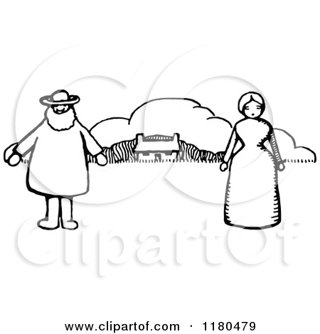Clipart of a Retro Vintage Black and White Woman and Men at a Barn.