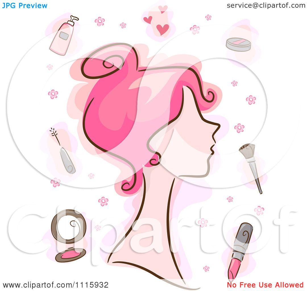 Clipart Pink Haired Woman With Makeup Items.