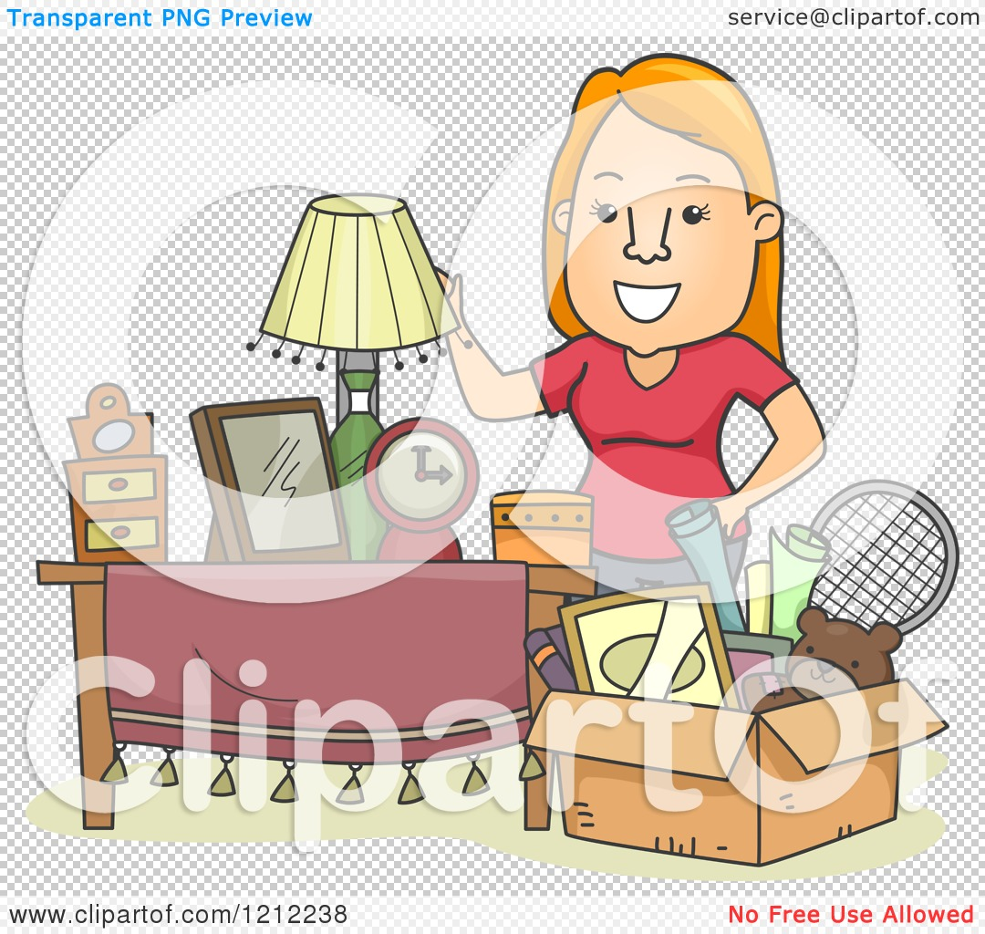 Cartoon of a Happy Woman Standing by a Box Full of Items.