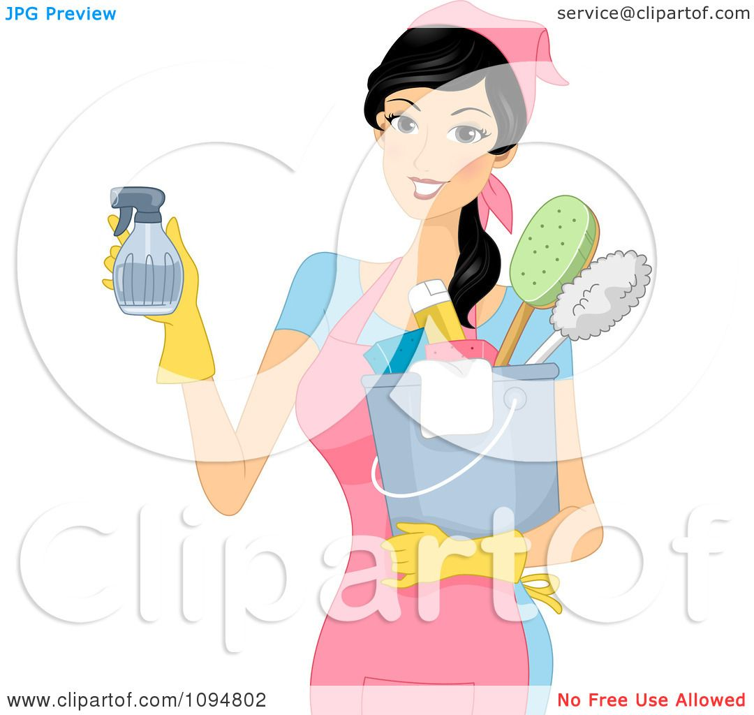 Clipart Smiling Woman Holding A Spray Bottle And Spring Cleaning.