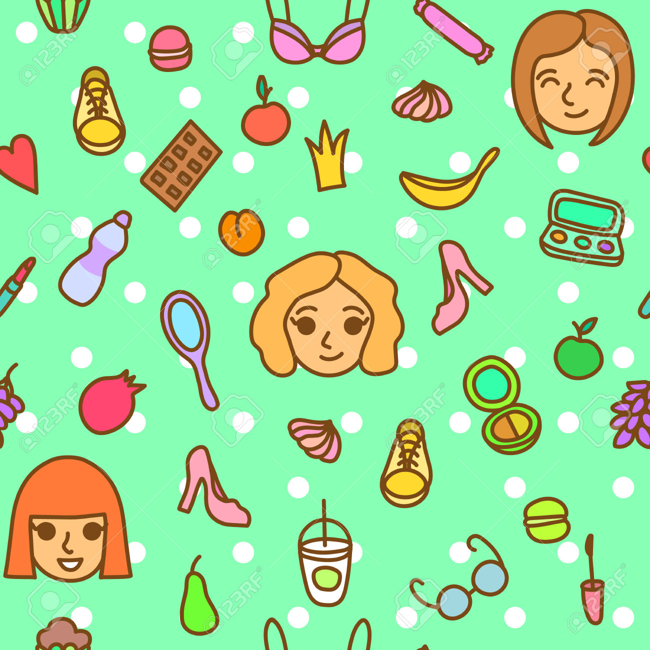 Cute Casual Fashion Seamless Pattern With Girl Faces And Everyday.
