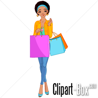 Clipart Of Woman Shopping.