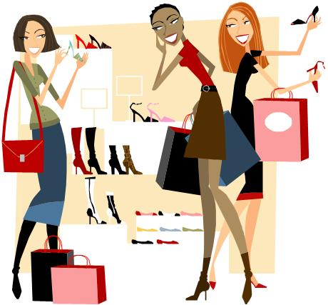 Free Clip Art Images Of Women Shopping.