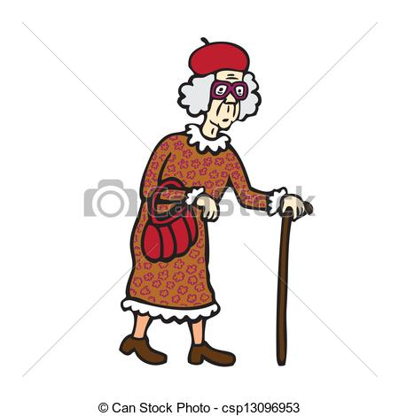 Clipart Vector of Old Woman.