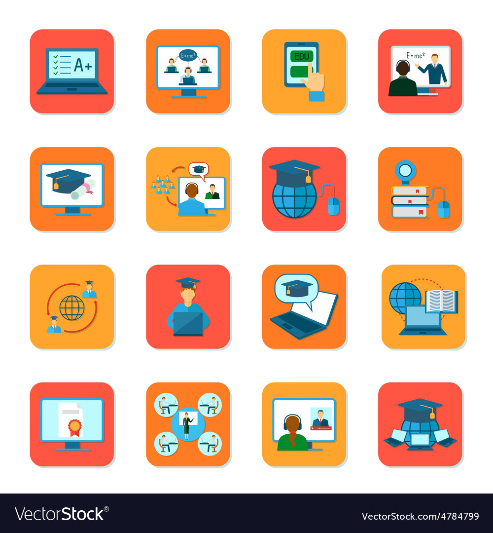 Online Education Icons Set.