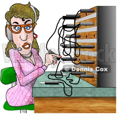 Clipart of a Cartoon Caucasian Switchboard Operator at Work.