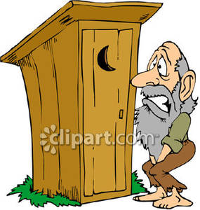 Cartoon of a Hillbilly Hurrying To the Outhouse.