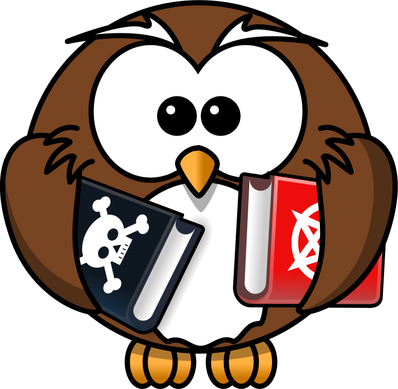 Free Clipart: Owl with books.
