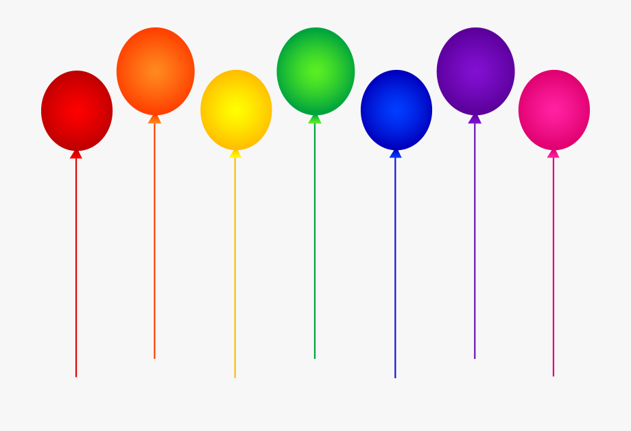 Seven Rainbow Birthday Party Balloons.