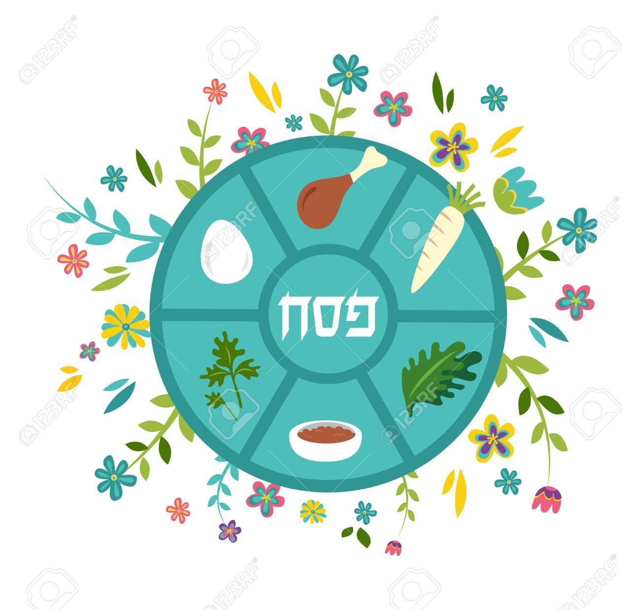 Passover seder plate with floral decoration, Passover in Hebrew...