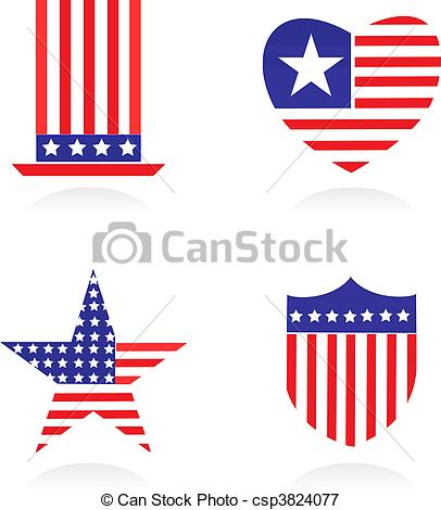 Elements and icons related to American patriotism.