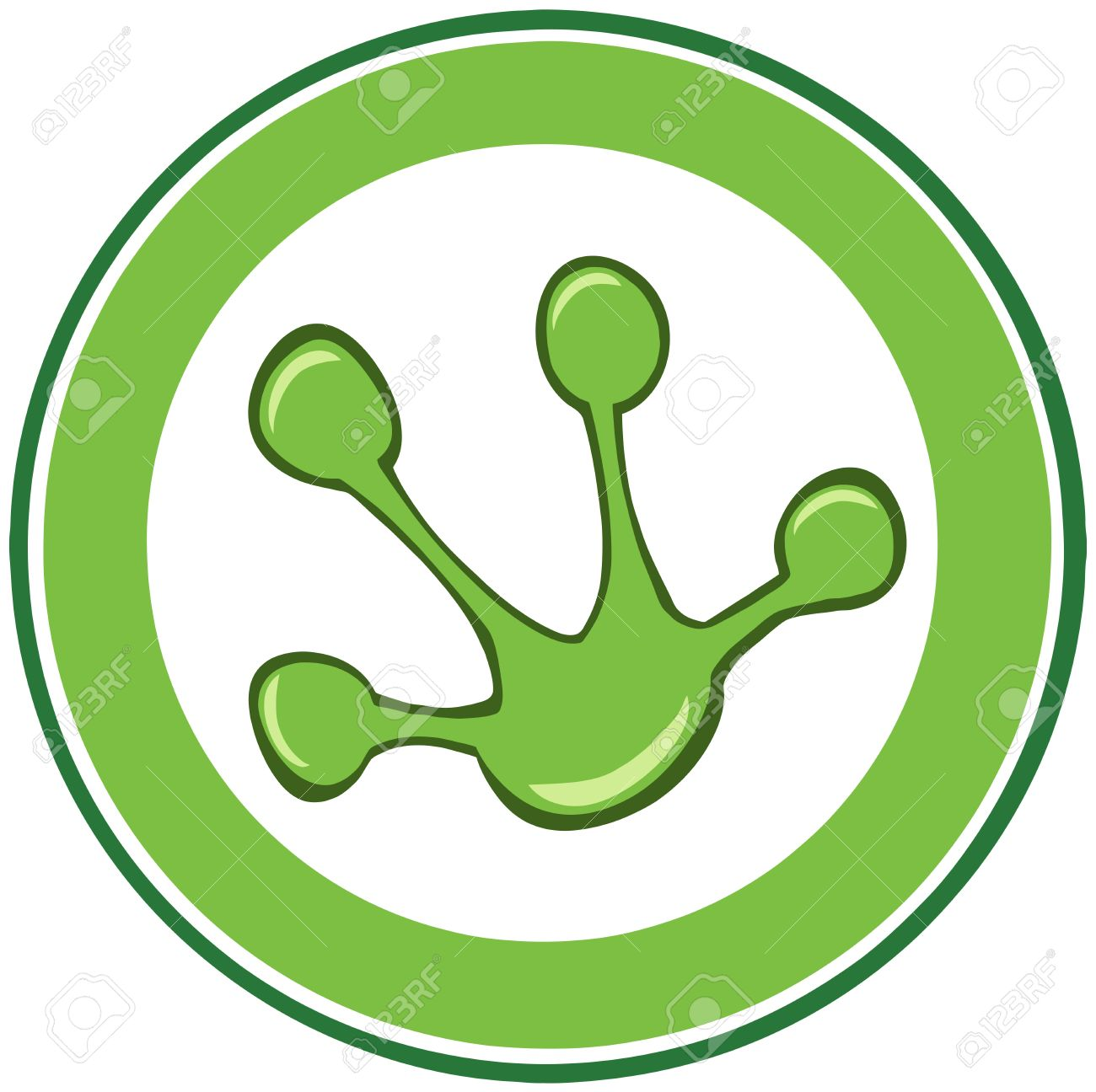 Green Frog Paw Print Banner Royalty Free Cliparts, Vectors, And.