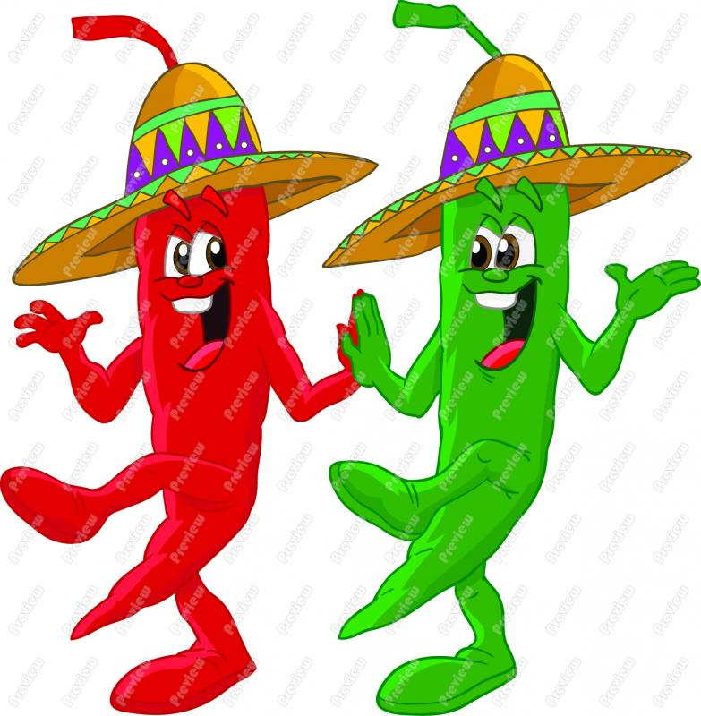 Dancing Peppers Clipart.