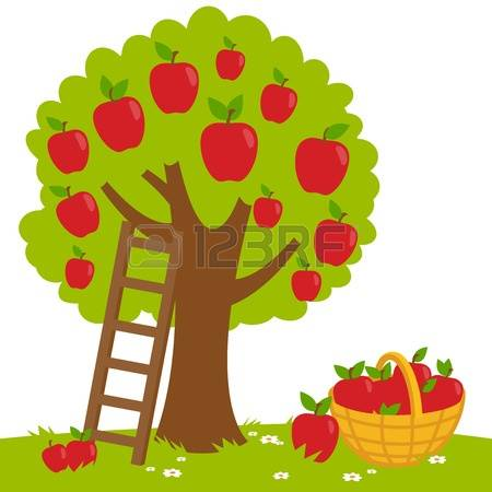 free clipart picture of six apples on a tree #12