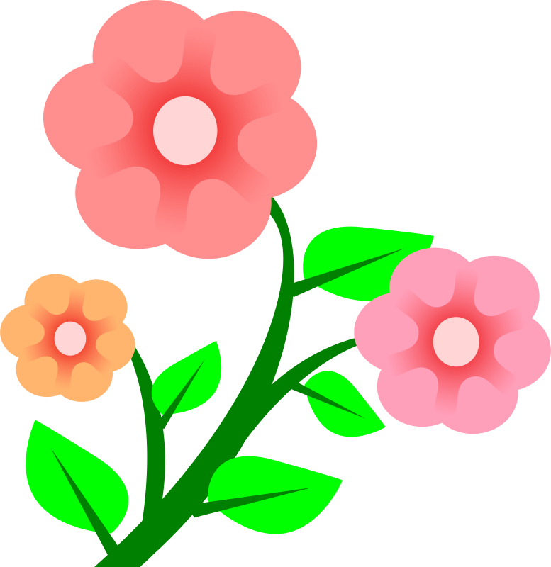 Free Clipart: 3 flowers.