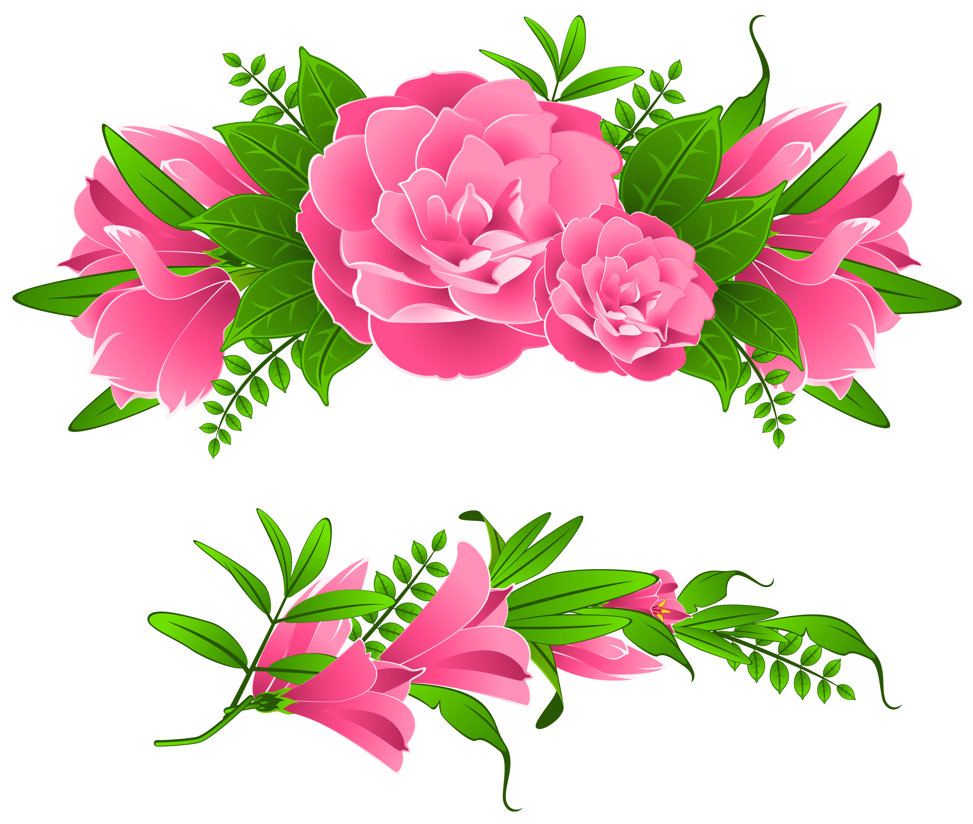 Pink Flowers Decorative Element PNG Clipart.
