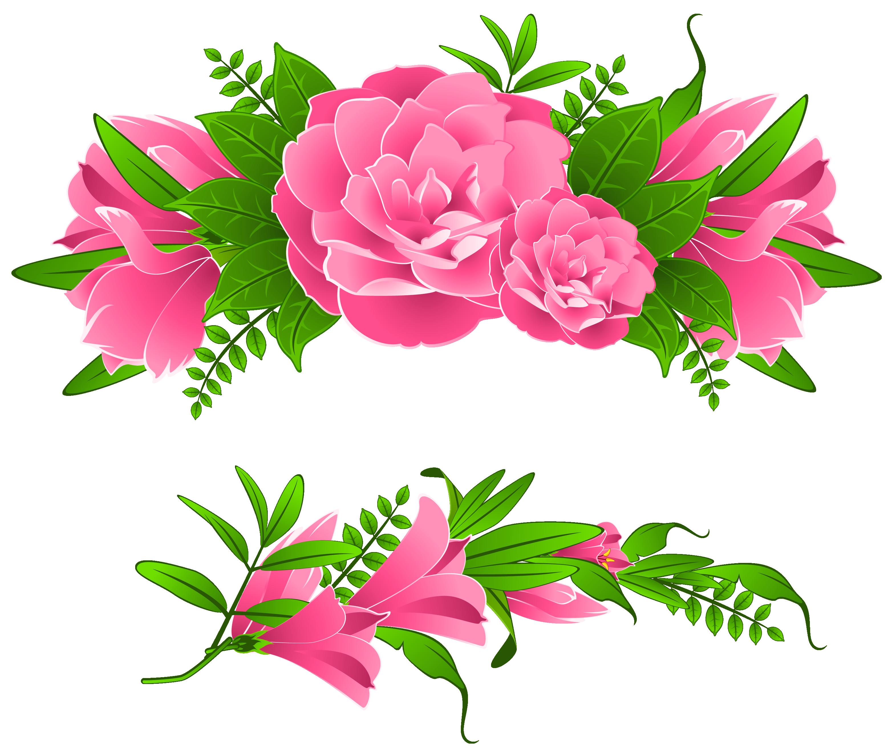 Pink Flowers Decorative Element PNG Clipart.