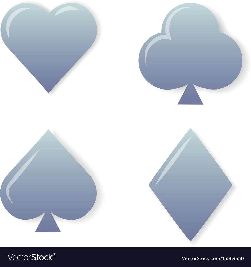 Silver playing cards symbols set on white.