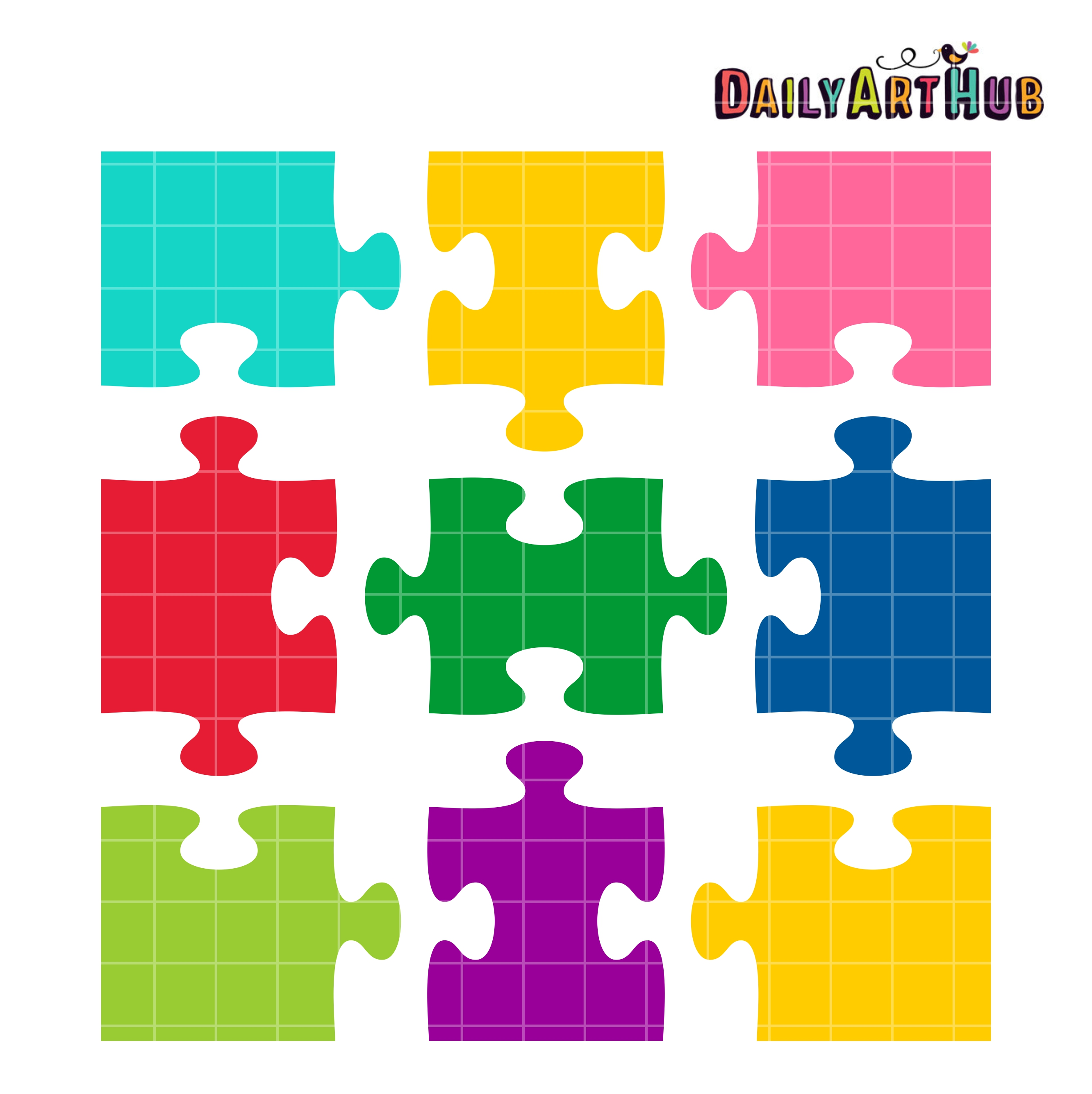 Jigsaw Puzzle Shapes Clip Art Set.