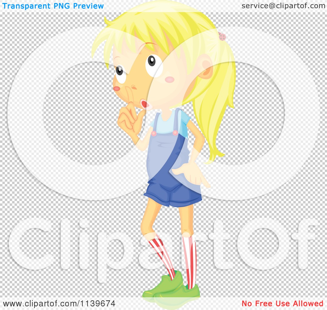 Cartoon Of A Blond Girl Gesturing To Be Quiet.