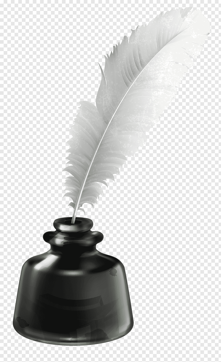 Inkwell Quill, Quill and Ink Pot, white feather pen on black.