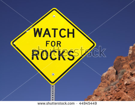 Falling_rocks_sign Stock Photos, Royalty.