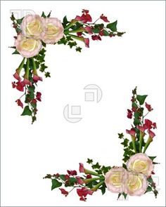 Vintage Rose Border Free Clipart.