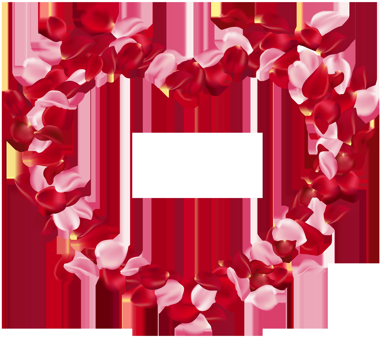 Heart Rose Petals Clip Art Image.