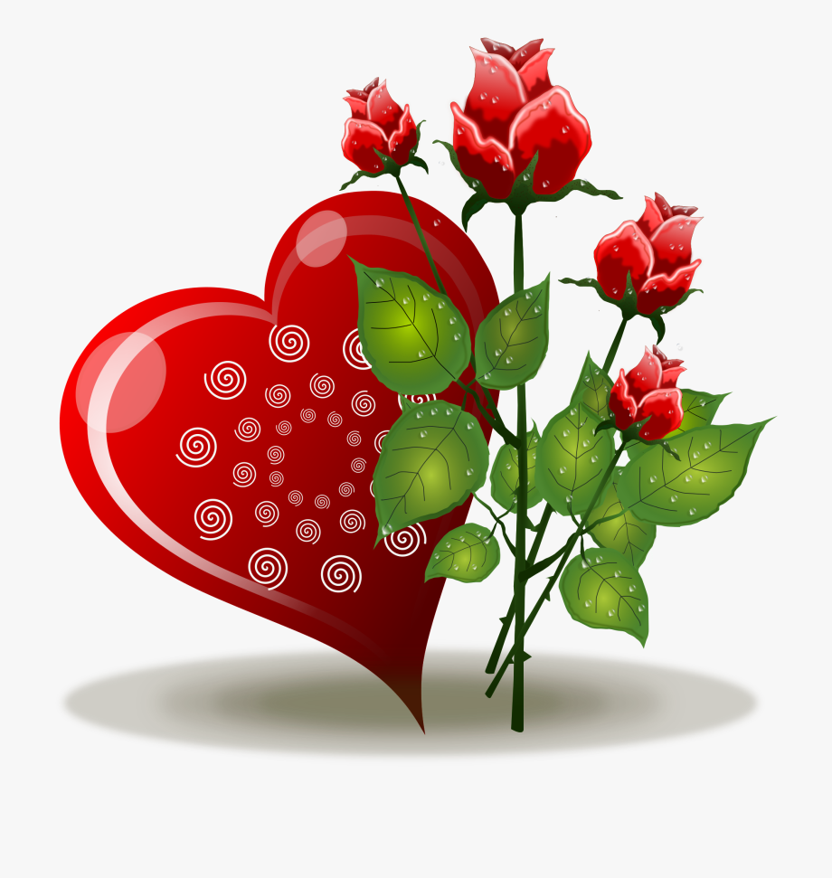 Heart Flower Love Rose Valentines Day Red Clipart.