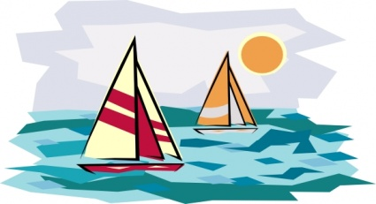 Two Sailboats In Sunset clip art Clipart Graphic.