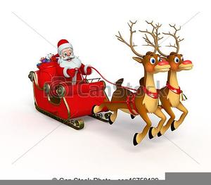 Santa In His Sleigh Clipart.
