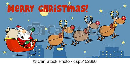 Clip Art Vector of Santa Sleigh And Reindeer.
