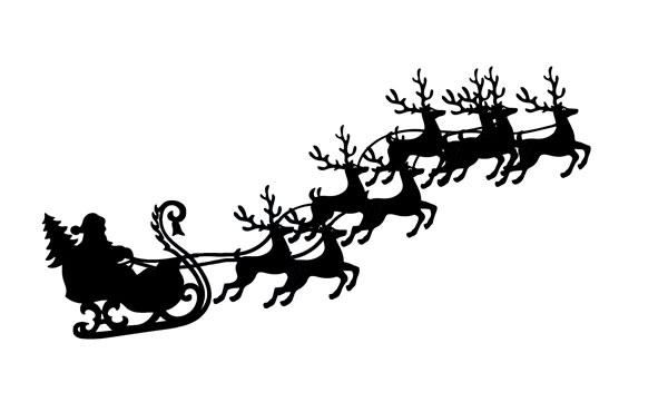 Free Clipart Santa Sleigh Reindeer.