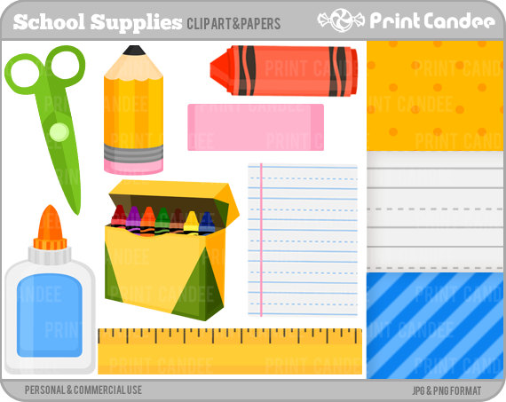 School Supplies Clipart Free.